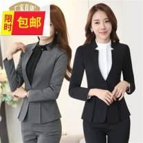Professional pants suit Red suit + skirt, grey suit + skirt, black suit + skirt, white shirt, blue suit + pants, black suit + pants, black shirt, grey suit + pants, blue suit + skirt XXL,XL,M,L,S,XXXL,XXXXL Winter of 2018