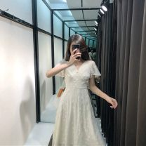 Women's large Summer 2021 L XL S M Dress singleton  commute Self cultivation thin Socket Short sleeve Solid color Korean version V-neck Medium length other Flying sleeve 3366-1 Newsday 18-24 years old Embroidery longuette Other 100% Pure e-commerce (online only) other