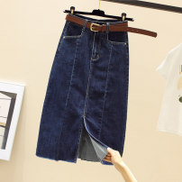 skirt Summer 2021 S M L XL 2XL Black blue Mid length dress commute High waist skirt Solid color Type A More than 95% Denim Structure number other pocket Korean version Other 100%