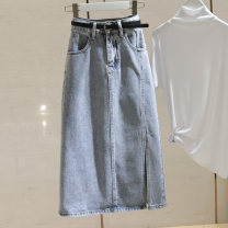 skirt Spring 2021 S M L XL Blue gray light blue Mid length dress commute High waist A-line skirt Solid color Type A 25-29 years old B128 More than 95% Denim Structure number other Open line decorative zipper Korean version Other 100%