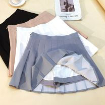 skirt Summer 2021 XS S M L XL 2XL White gray black apricot Short skirt Versatile High waist Pleated skirt Solid color Type A More than 95% other Structure number other Other 100%