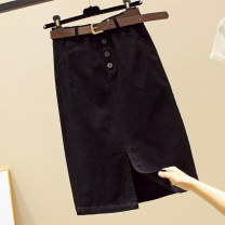 skirt Spring 2021 S M L XL 2XL Dark coffee black Mid length dress commute High waist A-line skirt Solid color Type A More than 95% other Structure number other pocket Korean version Other 100%