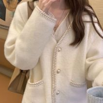 Wool knitwear Winter 2020 S,M,L,XL White coat, black coat Long sleeves singleton  Cardigan other More than 95% Regular routine commute Straight cylinder V-neck routine Solid color Single breasted Korean version 18-24 years old Other Button