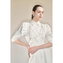 Dress Summer 2020 White, shirt skirt + Diamond bra XS,S,M,L Short skirt singleton  elbow sleeve Polo collar High waist Solid color Single breasted A-line skirt puff sleeve Others Type A PURITYRING MC201467 91% (inclusive) - 95% (inclusive)