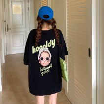 T-shirt White black green pink orange M L XL Summer 2020 Short sleeve Crew neck easy Medium length routine commute cotton 96% and above 18-24 years old Korean version youth Alphabetic characters Winter cherry snow printing Cotton 100% Pure e-commerce (online only)