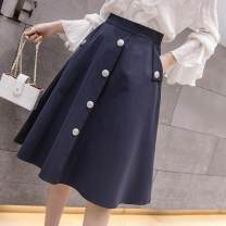 skirt Spring of 2019 S,M,L,XL,2XL Navy, apricot Mid length dress commute High waist Umbrella skirt Solid color Type A 25-29 years old LK181-7990 Other / other Korean version