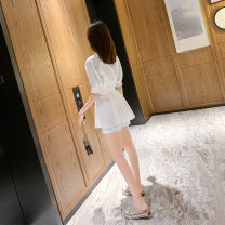 Dress Summer 2021 White suit S,M,L,XL Short skirt Two piece set elbow sleeve commute Polo collar High waist Solid color Single breasted A-line skirt bishop sleeve Others 25-29 years old Type X Korean version Bowknot, lace up, stitching Chiffon other