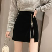 skirt Winter 2020 S recommendation 80-95, m recommendation 95-105, l recommendation 105-115, XL recommendation 115-125, 2XL recommendation 125-135 Black velvet fabric with lining, suit fabric with lining in summer, PU leather fabric with lining in autumn and winter Short skirt High waist A-line skirt