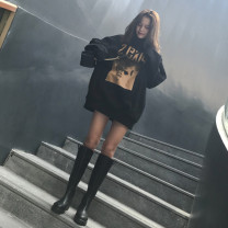 Sweater / sweater Winter 2020 black M L XL 2XL Long sleeves Medium length Socket singleton  Plush Crew neck easy commute routine character 18-24 years old 96% and above Meng Ying Korean version polyester fiber printing Cotton liner Polyester 100% Pure e-commerce (online only)