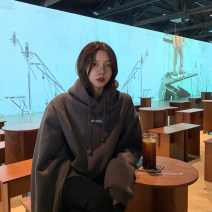 Sweater / sweater Winter 2020 Apricot dark grey green M L XL 2XL Long sleeves routine Socket singleton  Plush Hood easy commute routine letter 18-24 years old 96% and above Meng Ying Korean version polyester fiber printing Cotton liner Polyester 100% Exclusive payment of tmall
