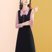 Dress Summer 2021 dark blue S,M,L,XL,XXL Mid length dress Fake two pieces Long sleeves commute Scarf Collar middle-waisted other A-line skirt Type A Sandro asw Buttons, pockets, zippers, stitches, bows, lace UPS, folds, straps 91% (inclusive) - 95% (inclusive) other other