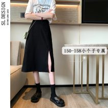 skirt Summer 2021 S M L XS Black apricot Mid length dress commute High waist A-line skirt Solid color Type A 18-24 years old eight thousand three hundred and twenty-three * More than 95% Shuli other Korean version Other 100% Pure e-commerce (online only)