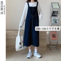 Dress Summer 2021 XS S M L Mid length dress singleton  Sleeveless commute High waist Solid color other A-line skirt other straps 18-24 years old Type H Shuli Korean version pocket More than 95% Denim other Other 100%
