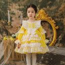 Dress yellow female Ziivaxxy / shoot 80cm 90cm 100cm 110cm 120cm 130cm Cotton 100% spring and autumn princess Long sleeves Solid color cotton Pleats ZY8053 Class A Spring 2021 12 months, 6 months, 9 months, 18 months, 2 years, 3 years, 4 years, 5 years, 6 years