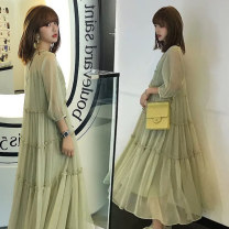 Dress Other / other Green (sling) M,L,XL,XXL Korean version three quarter sleeve have more cash than can be accounted for summer Crew neck Solid color Chiffon