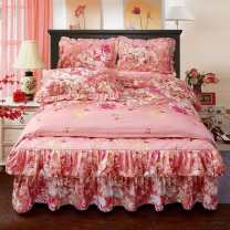 Bedding Set / four piece set / multi piece set Others Quilting Plants and flowers 128x68 Other / other Others 4 pieces 40 1.5m (5 ft) bed, 1.8m (6 ft) bed, 2.0m (6.6 ft) bed Bed skirt Qualified products Korean style Sanding Reactive Print  Thermal storage