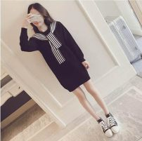 Dress Winter of 2019 Black, Navy, grey S,M,L,XL,XXL Mid length dress singleton  Long sleeves commute Scarf Collar High waist Solid color Socket other routine Others 25-29 years old Other Korean version More than 95% other other