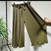 Casual pants Summer 2020 Ninth pants Wide leg pants High waist commute Thin money Other / other Korean version bow