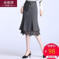 skirt Spring 2021 M L XL 2XL 3XL 4XL Grey check black Mid length dress commute High waist skirt lattice Type A d1193 other Duo weiqi Bandage lace Pure e-commerce (online only)