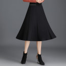 skirt Autumn 2020 M L XL 2XL 3XL 4XL black Mid length dress commute High waist A-line skirt Solid color Type A d017 Duo weiqi Pure e-commerce (online only)