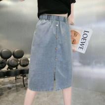skirt Spring 2020 M L XL 2XL wathet Mid length dress Versatile High waist skirt Solid color Type H More than 95% Denim govk other Button Other 100%