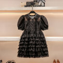 Dress Summer 2021 black S M L Short skirt singleton  Short sleeve commute Doll Collar High waist Solid color Socket Cake skirt puff sleeve 25-29 years old Type A Hua Baihua court Lace with diamond chain stitching zipper H0307 More than 95% Chiffon other Other 100% Pure e-commerce (online only)