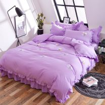 Bed skirt 160cmx (range 200-220) cm, 135cmx200cm, 150cmx200cm cotton Elegant pink, elegant dark gray, elegant jade, elegant purple, elegant sky blue, elegant dark green Other / other Solid color Qualified products