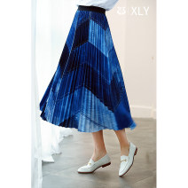 skirt Spring 2021 S M L XL 2XL blue longuette commute Natural waist A-line skirt Solid color Type A 25-29 years old 212Q010 More than 95% Chiffon Fairy music polyester fiber printing literature Polyester 100%