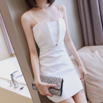Dress / evening wear Wedding, adult party, company annual meeting, daily appointment S M L White and black Korean version Short skirt High waist Summer 2021 A-line skirt Chest type Hollowing out spandex 36 and above Sleeveless Solid color Ji she Pure e-commerce (online only)