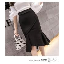 skirt Winter 2020 Middle-skirt Natural waist sexy Ruffle Skirt Solid color More than 95% cotton 18-24 years old 1688 feiyuan 863#_ tii8HYCVklEJ other Modern cotton Cotton 100.00% S M L XL black