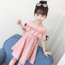 Dress Knitting lace skirt pink, knitting lace skirt yellow, rose red flowers female Other / other The recommended height is 100cm for Size 110, 110cm for Size 120, 120cm for Size 130, 130cm for size 140, 140cm for size 150 and 150cm for size 160 Other 100% summer Korean version Short sleeve other