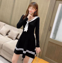 Dress Autumn 2020 black S,XL,L,M Short skirt singleton  Long sleeves commute V-neck Solid color Socket Princess Dress 18-24 years old Type A
