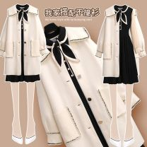 Dress Winter 2020 205383 black dress piece 1-7s8202579 white coat piece 1-137 S,M,L,XL Mid length dress Two piece set Long sleeves commute V-neck High waist stripe Socket Pleated skirt bishop sleeve Others 25-29 years old Type A Other Korean version 205383+202579AB#5 More than 95% knitting other