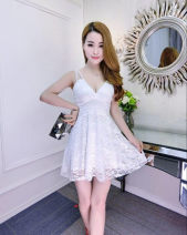 Dress Spring of 2018 Black, white, red S,XL,L,M Short skirt singleton  Sleeveless commute V-neck Solid color Socket Princess Dress other camisole 25-29 years old Type A 71% (inclusive) - 80% (inclusive) Lace