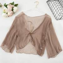 Lace / Chiffon Summer of 2019 Light coffee n34, khaki k32, blue purple K70, pink E77, apricot p51, white T73, black E71 Average size three quarter sleeve Versatile Cardigan singleton  easy have cash less than that is registered in the accounts V-neck Solid color 18-24 years old