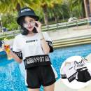 one piece  Other M [recommended 70-95 kg], l [recommended 95-110 kg], XL [recommended 110-120 kg] Orange three piece set, 76 three piece set, 08 three piece set, white three piece set With chest pad without steel support female Short sleeve Casual swimsuit