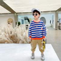 suit Other / other Blue, red, khaki, black, blue (suit), red (suit) 90cm,100cm,110cm,120cm,130cm,140cm male spring leisure time Long sleeve + pants 2 pieces routine There are models in the real shooting Socket nothing stripe cotton children Expression of love ake Class B