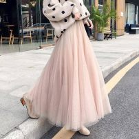 skirt Spring 2021 S skirt length is about 76cm, m skirt length is about 78cm, l skirt length is about 86cm, XL skirt length is about 87cm, 2XL skirt length is about 88cm Mid length dress High waist A-line skirt Other / other Mesh, stitching, solid