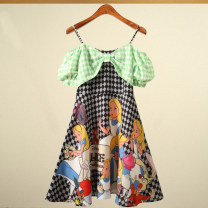 Dress Summer 2021 Decor XS,S,M Middle-skirt Fake two pieces Short sleeve Sweet Crew neck middle-waisted Cartoon animation Socket Princess Dress Princess sleeve camisole Type A Yang Di Su M12OD0892 More than 95% brocade Cellulose acetate Ruili