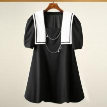 Dress Summer 2021 black XS,S,M Short sleeve High waist Princess Dress Type A Yang Di Su