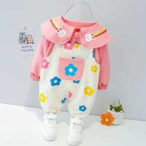 suit Other / other Orange, pink, yellow 73cm,80cm,90cm,100cm,110cm female spring and autumn Korean version Long sleeve + pants 2 pieces routine No model Single breasted nothing Solid color cotton children birthday hxc690 Class A Cotton 95% polyurethane elastic fiber (spandex) 5% 3 months