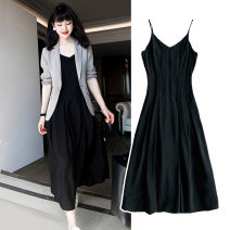 Women's large Spring 2021 Light grey suit + black dress Large L, large XL, s, M polyester fiber 51% (inclusive) - 70% (inclusive)