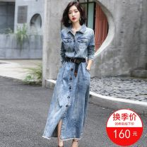 Dress Autumn 2020 Picture color S,M,L,XL,2XL longuette singleton  Long sleeves commute Crew neck High waist Solid color Single breasted A-line skirt routine Others 25-29 years old Type X Other Korean version Tassel, taping, stitching, lace up, pocket More than 95% Denim cotton