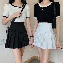 shirt Black and white S M L Spring 2021 other 96% and above Short sleeve commute Regular stand collar routine Solid color 18-24 years old Straight cylinder Zhixi (dress) Korean version PU Pure e-commerce (online only)