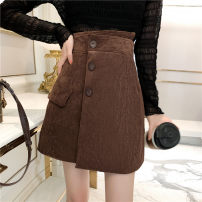skirt Winter 2020 S M L XL Apricot grey green black coffee Mid length dress commute Natural waist other Solid color 18-24 years old 1329 a large number of spot real shooting More than 95% Zhixi (dress) other Korean version PU Pure e-commerce (online only)