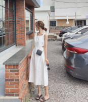 Dress Summer of 2019 White, black S,M,L Mid length dress singleton  Sleeveless commute square neck High waist Solid color Big swing other straps Retro 91% (inclusive) - 95% (inclusive)
