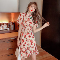 Dress Summer 2021 Retro rose S,M,L,XL Short skirt singleton  Short sleeve Sweet stand collar middle-waisted Decor Socket other bishop sleeve Others 18-24 years old Type A Asymmetric, button, print 81% (inclusive) - 90% (inclusive) other polyester fiber