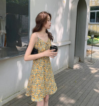 Dress Summer 2021 4159 V-neck skirt, 4163 Lapel skirt, 4147 short sleeve S,M,L Short skirt singleton  Sleeveless commute V-neck High waist Decor A-line skirt other Others bow 91% (inclusive) - 95% (inclusive) other