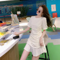 Dress Summer 2021 White, black S,M,L,XL Middle-skirt singleton  Short sleeve Crew neck Solid color Socket Ruffle Skirt routine Type A Other / other