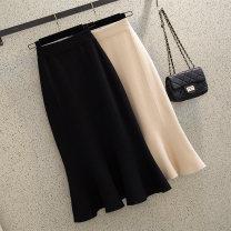 skirt Summer 2020 Average size 5501 ᦇ black, 5501 ᦇ apricot, 5501 ᦇ black plus size (suitable for 115-130 kg) longuette commute High waist skirt Solid color Type A 18-24 years old 5501# knitting Ocnltiy Cashmere Korean version